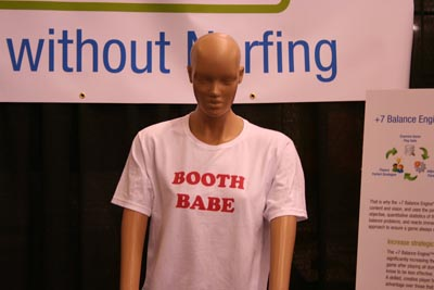 mannequin in a t-shirt that says booth babe